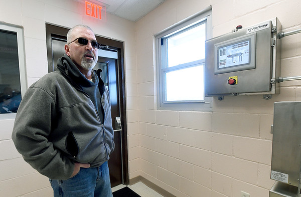 William Runkle, wastewater director, talks on Tuesday about the innovations recently acquired at the Center Creek Wastewater Treatment facility.<br /> Globe | Laurie SIsk