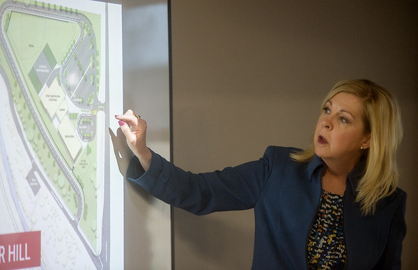 Joplin Superintendent Melinda Moss talks about traffic flow at the site of the proposed elementary school at Dover Hill during a press conference on Tuesday at the Joplin Chamber of Commerce.<br /> Globe | Roger Nomer