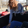 Shannon Wendy drops off items for recycling on Tuesday at the Joplin Recycling Center. <br /> Globe | Laurie Sisk