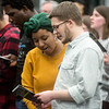 "Michelle and Gabe Schaffer, seniors at Ozark Christian College, sing ""Lift Every Voice and Sing"" during Monday's Dr. Martin Luther King Jr. Day Celebration at Missouri Southern.<br /> Globe 