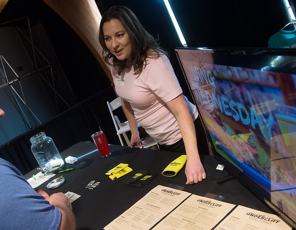 Jodi Whisenhunt, manager of Undercliff Bar and Grill, talks about the restaurant's menu on Tuesday at the Joplin Area Chamber of Commerce Business Expo at Downstream Casino.<br /> Globe   Roger Nomer
