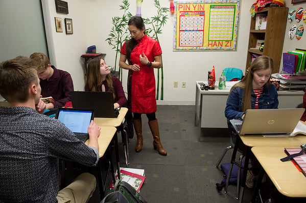 Fang Martin teaches her Chinese-language class on Tuesday at Thomas Jefferson Independent Day School.<br /> Globe | Roger Nomer