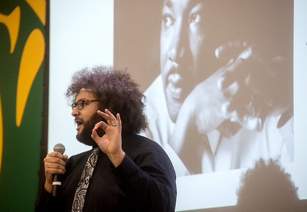 Matthew McBirth, diversity department director at Ozark Christian College, gives an address during Monday's Dr. Martin Luther King Jr. Day Celebration at Missouri Southern.<br /> Globe | Roger Nomer