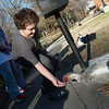 James (left), 11, and Jackson, 10, Barker, Neosho, feed ducks at Big Spring Park in Neosho on Monday.<br /> Globe | Roger Nomer