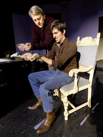 "From the left: Greg Green (as Sidney Bruhl) and Sam Hydar (as Clifford Anderson) rehearse their roles for the upcoming Joplin Little Theatre Production of ""Deathtrap,"" which opens Jan. 29 at JLT. The Ira Levin comedy thriller is directed by Ashley Trotnic.<br /> Globe 