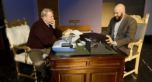 "From the left: Greg Green (as Sidney Bruhl) and Phil Butler (as Porter Milgram) rehearse their roles for the upcoming Joplin Little Theatre Production of ""Deathtrap,"" which opens Jan. 29 at JLT. The Ira Levin comedy thriller is directed by Ashley Trotnic.<br /> Globe 