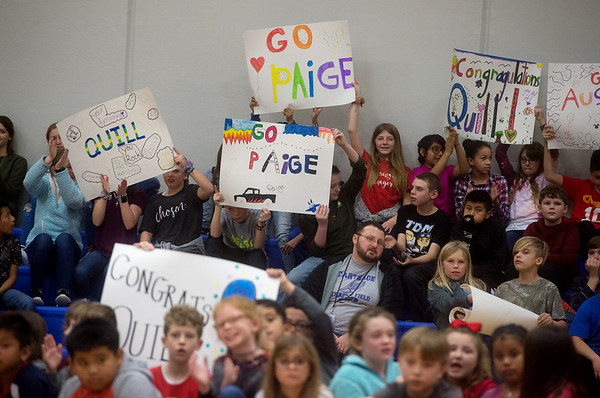 Students show their support for their fellow classmates during a Make-A-Wish assembly on Friday at Carthage Intermediate Center.<br /> Globe | Roger Nomer