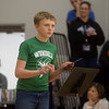 Austin Davis, sixth grade, participates in a quiz show that was used to reveal his Make-A-Wish cruise on Friday at the Carthage Intermediate Center.<br /> Globe | Roger Nomer