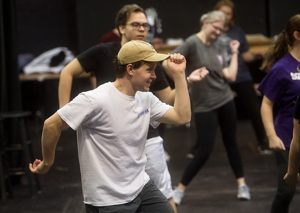 """Corbin Chaffin, a Missouri Southern sophomore from Joplin, practices choreography for """"Mama Mia"""" on Friday at the Bud Walton Black Box Theatre.<br /> Globe 