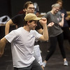 "Corbin Chaffin, a Missouri Southern sophomore from Joplin, practices choreography for ""Mama Mia"" on Friday at the Bud Walton Black Box Theatre.<br /> Globe 