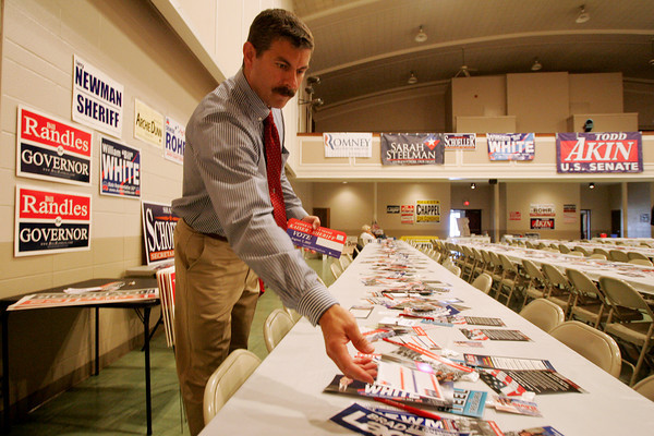 Globe/Roger Nomer<br /> Randee Kaiser, candidate for Jasper County Sheriff, distributes some campaign material before Monday's Lincoln Ladies Social at Memorial Hall in Carthage.