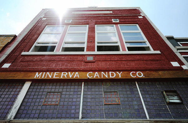 Globe/T. Rob Brown<br /> The Minvera Candy Co. building, built in 1913, in downtown Webb City Tuesday afternoon, July 10, 2012. Store owner Tom Hamsher said he is reopening the longstanding Webb City candy store soon and plans to expand it with homemade ice cream and a deli.