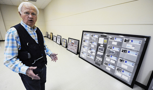 Globe/T. Rob Brown<br /> Allen Shirley of Joplin talks about his upcoming World War II display, which includes a piece (at right) on the Doolittle Raiders, a new Joplin Museum Complex display that unveils Saturday, Aug. 3, 2013.