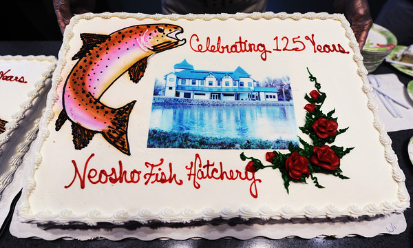 Globe/T. Rob Brown<br /> One of several cakes Friday morning, July 12, 2013, during the Neosho National Fish Hatchery's 125th Anniversary Celebration.