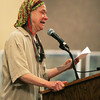 Globe/Roger Nomer<br /> Jean Feltmann, Eureka Springs, gives an emotional statement against the power line plan at Monday's hearing at the Inn of the Ozarks Conference Center.