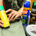 Globe/T. Rob Brown Kevin Badgley, community outreach specialist with the Missouri Department of Conservation, points out that Permethrin is the important active ingredient in insect repellen ...