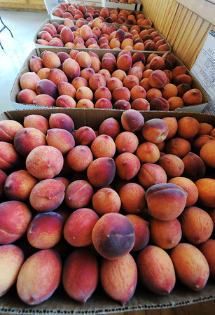 Globe/T. Rob Brown<br /> Boxes of peaches at Brenda's Berries Friday morning, July 19, 2013, near Chetopa, Kan.
