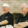 Globe/Roger Nomer<br /> Former mayors Richard Russell, left, and Phil Stinnett chat during a reunion Friday at Central Christian Church.
