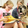 Globe/Roger Nomer<br /> Jae Gubera, 10, reads to Deb Markman and her dog Pura Vida at the Joplin Public Library on Tuesday for the Dog Day Afternoon event.  The next time that kids can read to therapy dogs will be on July 23rd.