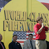 Globe/Roger Nomer<br /> Jake's Fireworks CEO Mick Marietta addresses the crowd on Monday morning before the ribbon cutting.