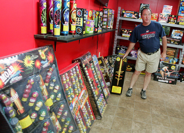 Globe/Roger Nomer<br /> Scott Moutz gives a tour of the new Jake's Fireworks showroom in Pittsburg.