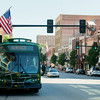 Globe/Roger Nomer<br /> Driver Terry Wright waits at the City Hall stop with the new Joplin trolley on Friday morning.