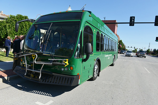 Globe/Roger Nomer<br /> The new Sunshine Lamp Trolley was introduced in front of the Joplin Public Library on Thursday morning.