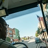 Globe/Roger Nomer<br /> Driver Terry Wright takes the new Sunshine Lamp Trolley for a spin downtown on Thursday.