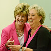 Globe/Roger Nomer<br /> Patty Richard, left, talks with Kathy Brown before Tuesday's signing of breast density legislation at Freeman Hospital. The two women were credited by Gov. Jay Nixon for helping pass the bill.