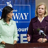 Globe/Roger Nomer<br /> South Carolina Gov. Nikki Haley and Missouri governor candidate Catherine Hanaway make a joint appearance on Monday at the Alpha Air Center.