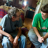Globe/Roger Nomer<br /> Henry Owens talks with Ashley Gooch on Tuesday afternoon. Gooch helps Owens with chores around the house.