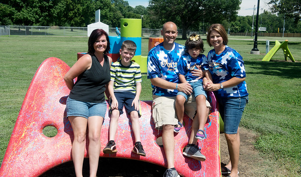 Globe/Roger Nomer<br /> (from left) Aimee Thompson, Trenton Banks, 10, Phil, Raylin, 6, and Nikki Jacobs are raising funds for an accessible playground at Katy Park in Chanute.