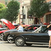 Participants prepare for the Show and Shine portion of the Mustang Mother Road Weekend on Friday in downtown Joplin. <br /> Globe | Laurie Sisk