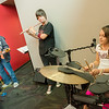 Globe/Roger Nomer<br /> (from left) Rock stars in training Daniel Gentry, 15, Calvin Ledford, 13, and Sara Boden, 11, rehearse as the Triple Whats during rock camp at Ernie Williamson Music on Tuesday. The week-long camp gives young musicians the chance to learn covers and create thier own original music.