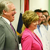 Globe/Roger Nomer<br /> Gov. Jay Nixon and Patty Richard announce the signing of breast density legislation at Freeman Hospital on Tuesday.