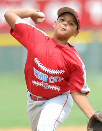 Webb City starter Dante Hill, 10, hurls a pitch toward the plate during the Little League State Tournament on Friday at Sunny Jim Park.<br /> Globe | Laurie Sisk