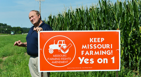 Globe/Roger Nomer Rep. Bill Reiboldt talks about his sponsorship of Amendment 1 during an interview at his Neosho farm on Wednesday morning.