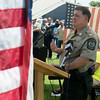 Globe/Roger Nomer<br /> Newton County Sheriff Department Chief Deputy Chris Jennings talks about the recent shootings of law enforcement officers in Louisiana on Sunday at a rally to support law enforcement officers at the Lampo Building in Neosho.