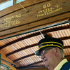 Globe/Roger Nomer<br /> Conductor Clyde Thornbrugh welcomes riders on Thursday to the Street Car #60.