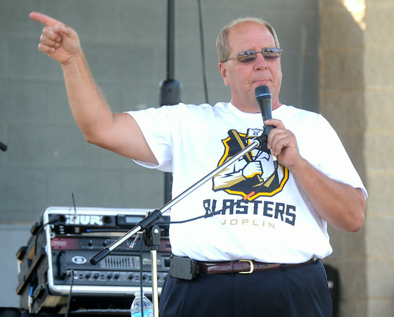 Joplin Mayor Mike Seibert welcomes the crowd to the Independence day celebration on Friday at Landreth Park. Friday also was Seibert's birthday.<br /> Globe | Laurie Sisk