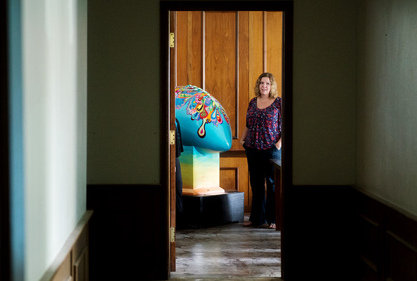 """Globe/Roger Nomer<br /> On Friday, Leslie Harris talks about her football artwork """"New Beginnings"""" which is being donated to Safehouse in Pittsburg."""