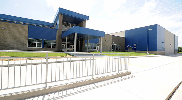 The exterior of Carthage R-9's new intermediate school sits nearly completed on Thursday.<br /> Globe | Laurie Sisk