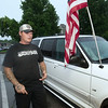 Jerry Girdner expresses his views during a counter protest to the Black Lives Matter movement on Thursday on the Neosho square.<br /> Globe | Laurie Sisk