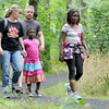 The Anshutz family, from Peyton, Colo., check out a trail at George Washington Carver National Monument on Saturday. From the left: Maggie Anshutz, Chad Anshutz, five-year-old Nyshie Anshutz and nine-year-old Vivian Anshutz.  <br /> Globe | Laurie Sisk