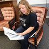 Volunteer Misty Norris reads about the power of hope during an adult English speaking class on Wednesday afternoon at Feeding Inc. Since transitioning from the former River Street Pantry, Feeding Inc. has expanded its programs to include language classes and teaching workplace skills.<br /> Globe | Laurie Sisk