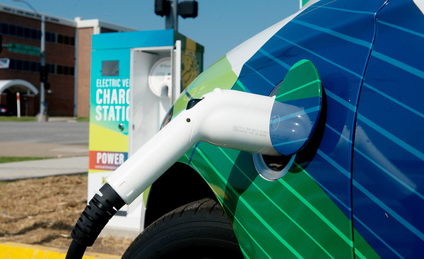 Globe/Roger Nomer<br /> A new electric car charging station has been installed at the Endzone Facility at Missouri Southern.