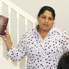 Esmerelda Portilo leads a class for Spanish speaking visitors on Wednesday at Feeding Inc. in Carthage. Since transitioning from the former River Street Pantry, Feeding Inc. has expanded its programs to include language classes and teaching workplace skills.<br /> Globe | Laurie Sisk