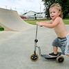 Two-year-old Zaidyn Hoosier shows off his skills on Tuesday afternoon at the Ewert Skate Park.<br /> Globe | Laurie Sisk