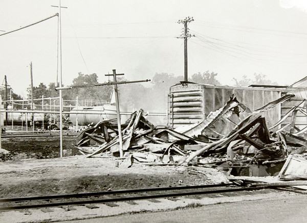 "A 1966 photograph shows the remains of a warehouse, considered to be in a ""safety area"" about .25 miles from the main blast at Hercules.<br /> Courtesy photo/Jasper County Records"