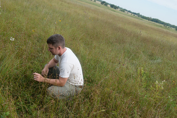 lobe/Roger Nomer<br /> Jerod Huebner, director of prairie management, talks about the Carver Prairie during an interview on Friday.